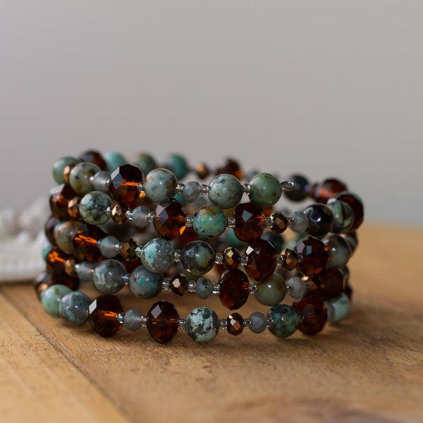 African Turquoise & Crystal Memory Wire Beaded Bracelet