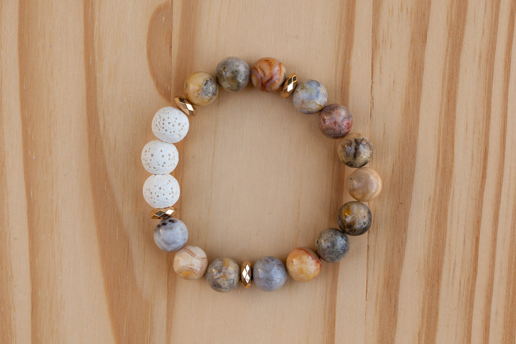 Essential Oil Diffuser Aromatherapy Crazy Lace Agate Stretchy Bracelet