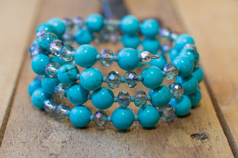 Turquoise & Crystal Memory Wire Beaded Bracelet