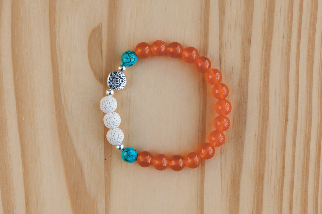 Essential Oil Diffuser Aromatherapy Orange Jade & Turquoise Stretchy Bracelet with Aztec Sun