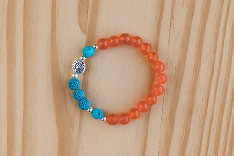 Essential Oil Diffuser Aromatherapy Orange Jade Stretchy Bracelet with Aztec Sun