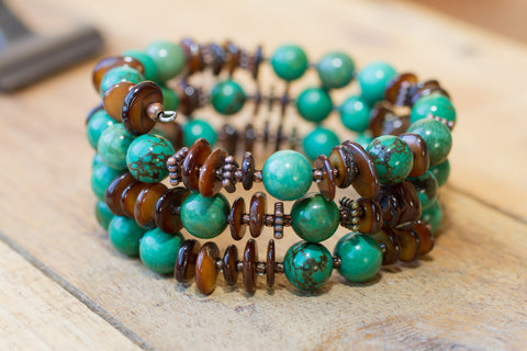 Green Turquoise, Brown Shell & Copper Memory Wire Beaded Bracelet