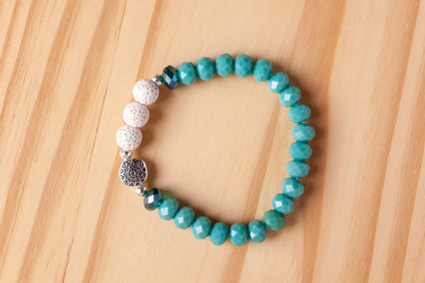 Essential Oil Diffuser Aromatherapy Turquoise Crystal Stretchy Bracelet with Aztec Sun