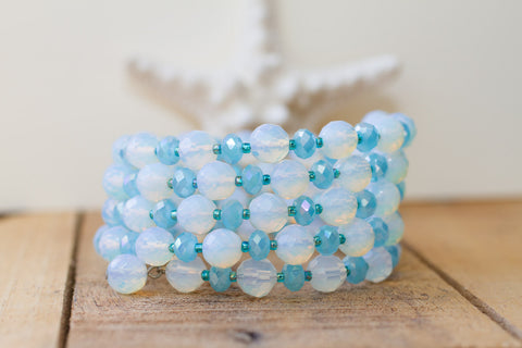 Opalite Glass & Turquoise Blue Crystal Memory Wire Beaded Bracelet