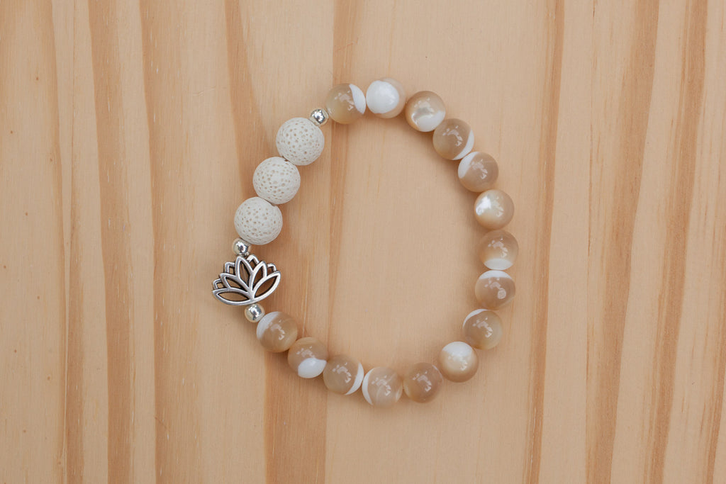 Essential Oil Diffuser Aromatherapy Mother of Pearl Stretchy Bracelet with Lotus Flower