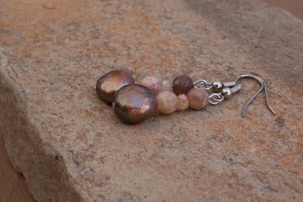 Brown Freshwater Pearl, Sunstone & Crystal Earrings