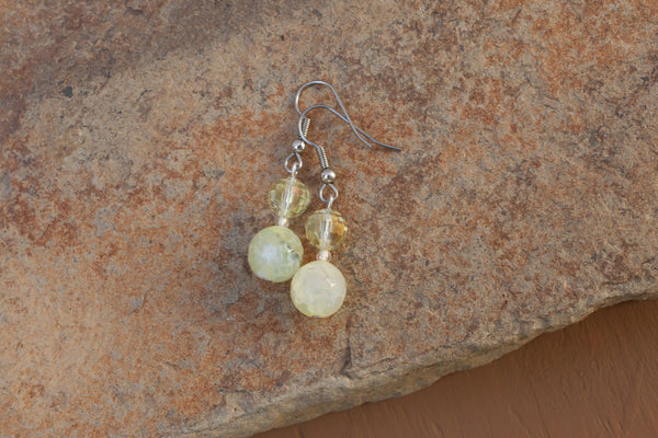 Lemon Cracked Agate & Crystal Earrings