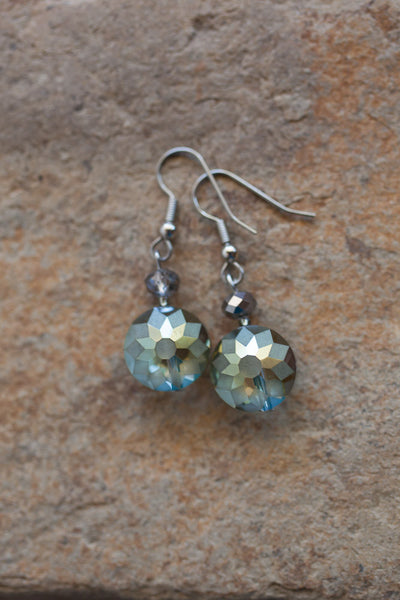 Olivine Etched Crystal Earring