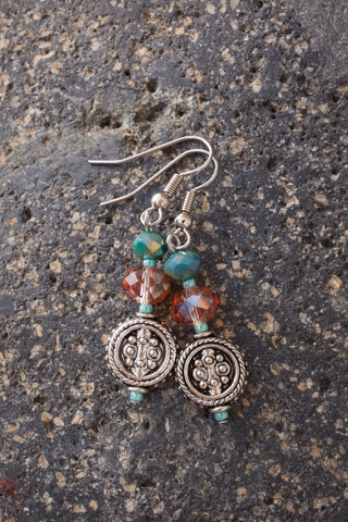 Silvertone, Topaz & Turquoise Crystal Earrings