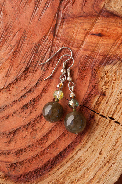 Labradorite & Crystal Earrings