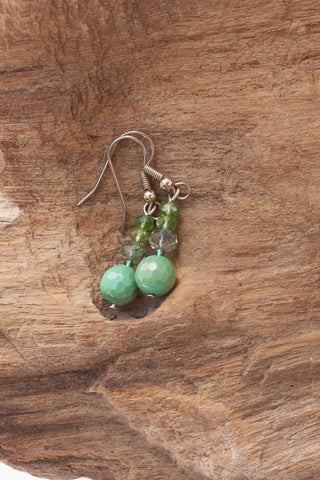 Chrysoprase & Crystal Earrings
