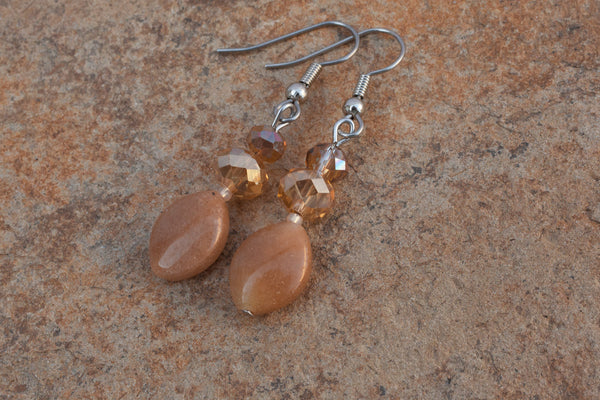 Red Aventurine & Crystal Earrings