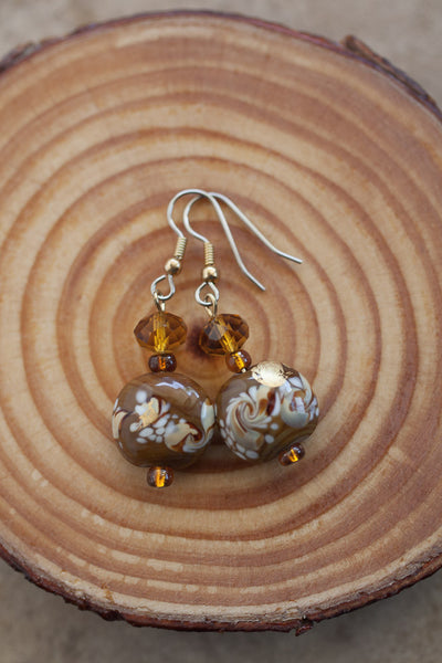 Brown Art Glass & Crystal Earrings