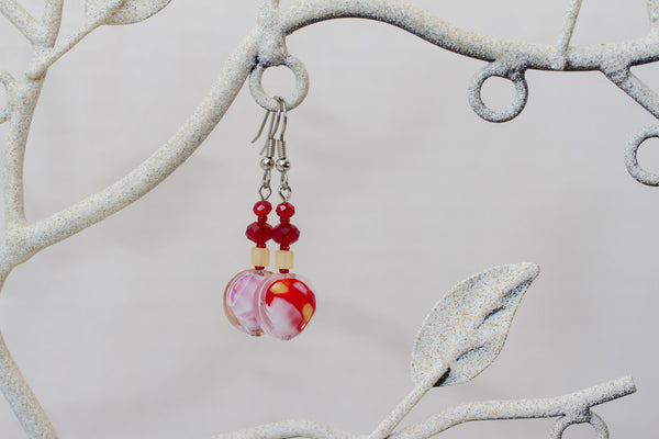 Red, Yellow & White Glass & Crystal Dangle Earrings
