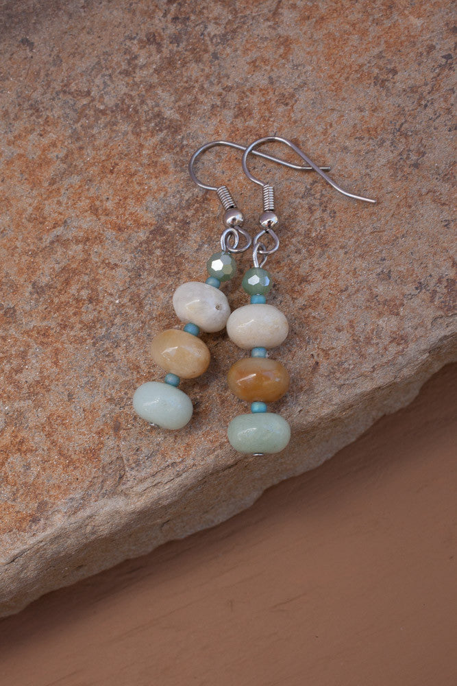 Amazonite & Crystal Earrings
