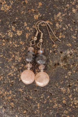 Cherry Quartz, Labradorite & Crystal Earrings