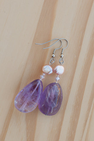 Rose Amethyst Dangle Earrings with Pearl & Crystal Beads