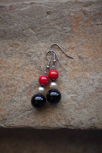 Black Onyx, Coral & Faux Pearl Earrings