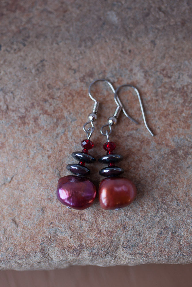 Cranberry, Hemalyke & Crystal Earrings