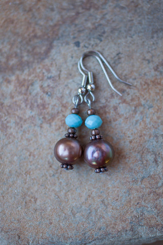 Chocolate Pearl & Crystal Earrings