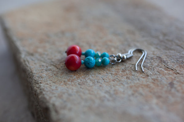 Coral, Turquoise & Crystal Earrings