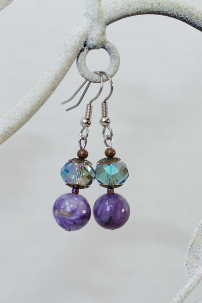 Purple Charoite, Crystal & Copper Dangle Earrings