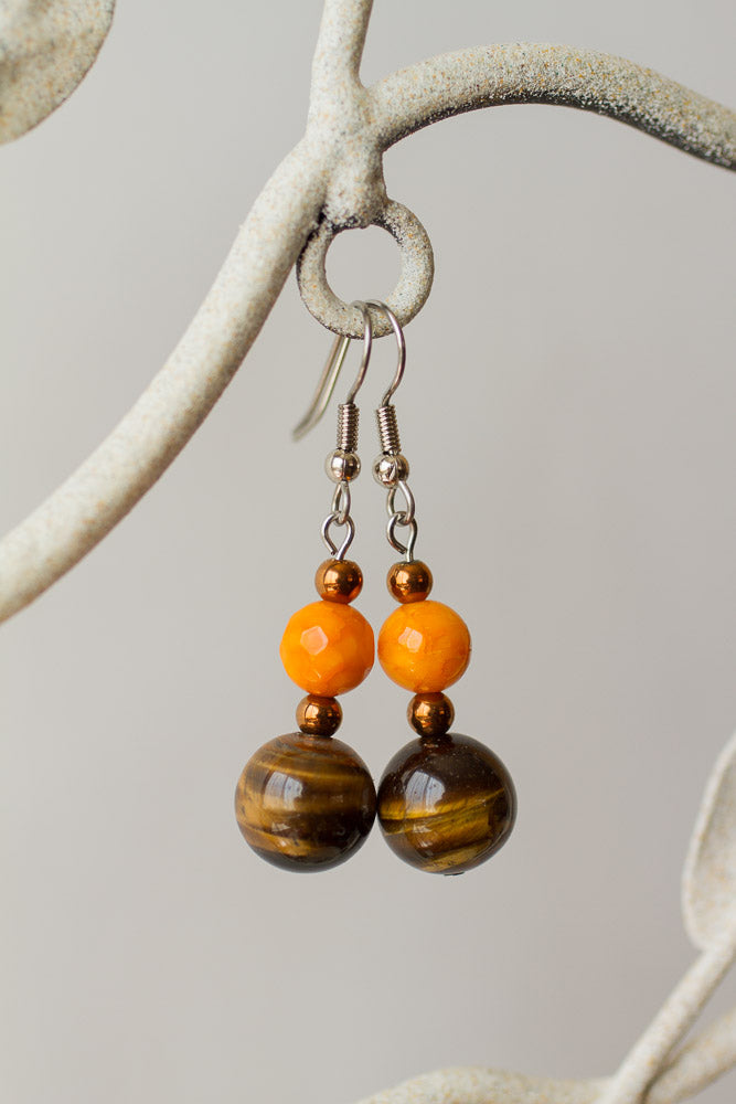 Tiger Eye & Orange Agate Dangle Earrings