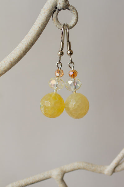 Yellow Agate & Crystal Dangle Earrings