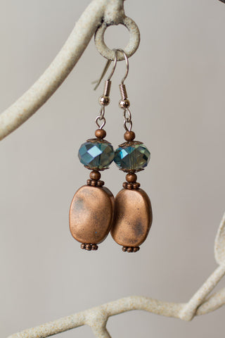 Copper & Teal Crystal Earrings