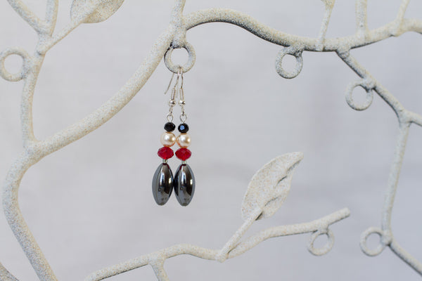 Hemalyke, Faux Pearl & Red and Black Crystal Dangle Earrings