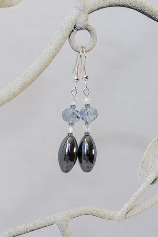 Hemalyke with Blue & Opalescent Crystal Dangle Earrings