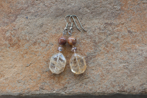 Imitation Quartz, Jasper & Crystal Earrings