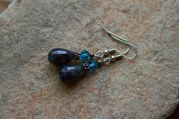 Blue Agate & Crystal Earrings