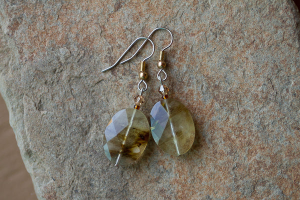 Volcano Cherry Quartz & Crystal Earrings