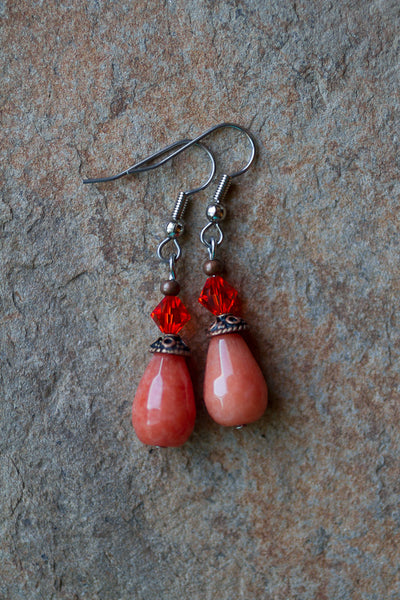 Coral Jade & Swarovski Crystal Dangle Earrings