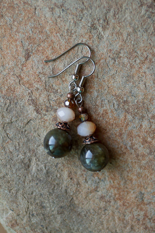 Labradorite & Crystal Dangle Earrings