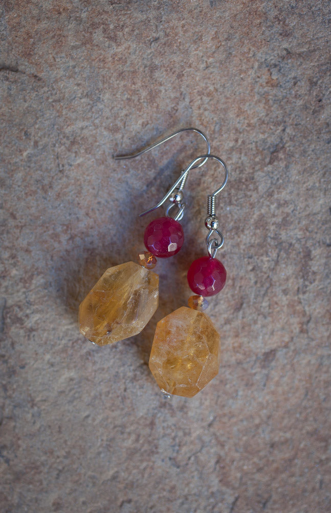 Golden Citrine & Plum Jade Dangle Earrings