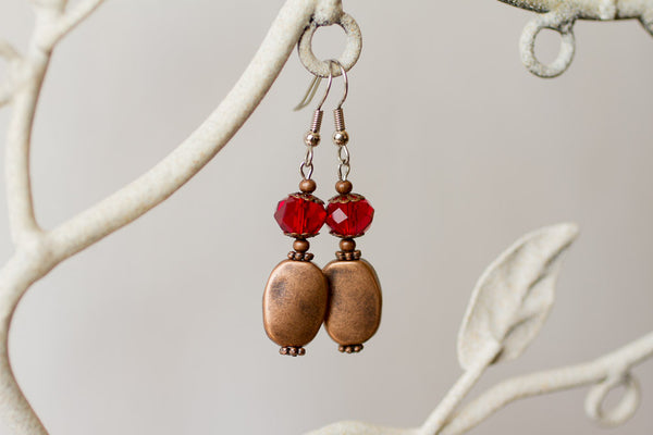 Copper & Red Crystal Earrings