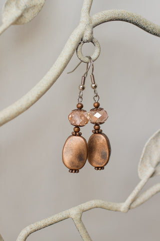 Copper & Pale Peach Crystal Earrings