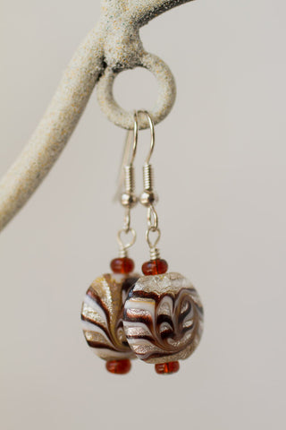 Brown/Cream Swirl Art Glass Earrings