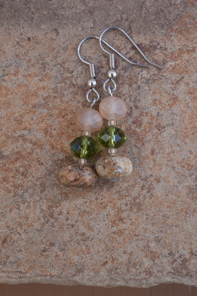 Flower Jade & Crystal Earrings