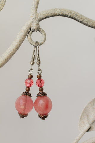 Cherry Quartz, Swarovski Crystal & Copper Earrings