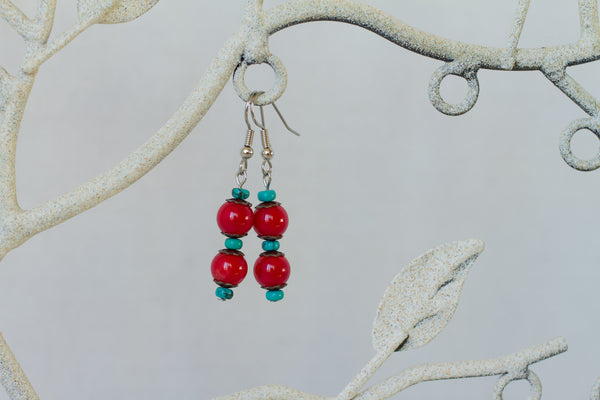 Coral, Turquoise & Copper Dangle Earrings