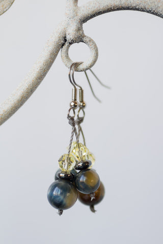 Blue Tiger Eye & Jonquil Lemon Swarovski Crystal Earrings