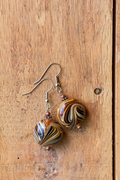 Brown & Cream Art Glass Swirl Dangle Earrings