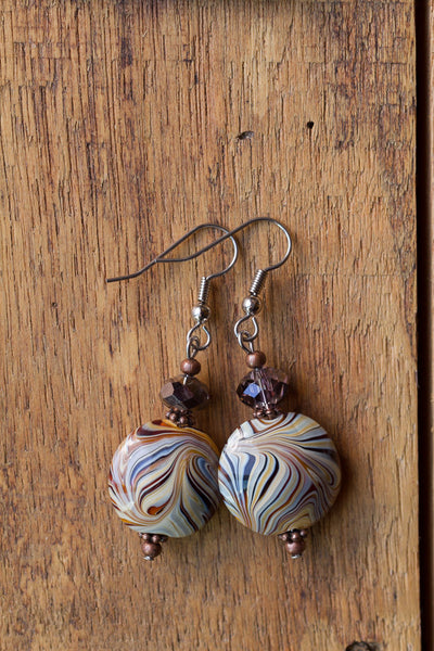 Cream & Brown Swirl Glass Dangle Earrings with Copper & Crystal Accents