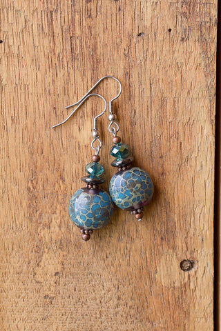 Teal Glass Dangle Earrings with Crystal, Hematite & Copper