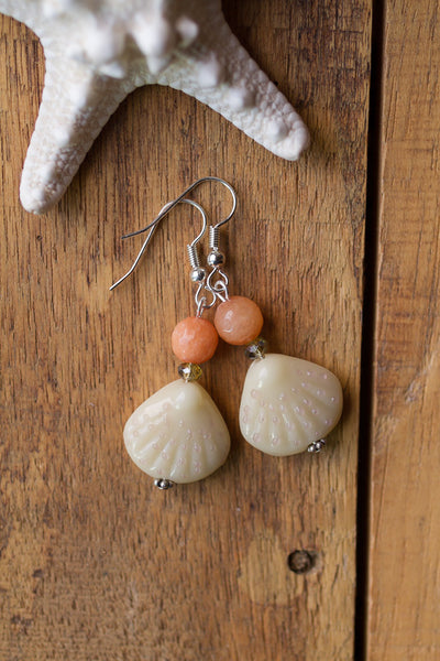 Peach & Cream Glass Shell Dangle Earrings