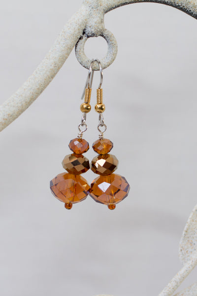 Brown Topaz & Copper Colored Glass Dangle Earrings