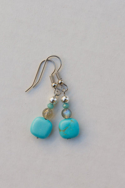 Turquoise Square, Labradorite & Crystal Dangle Earrings